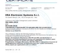 ISO 9001:2015 and EN 9100:2018 certificate